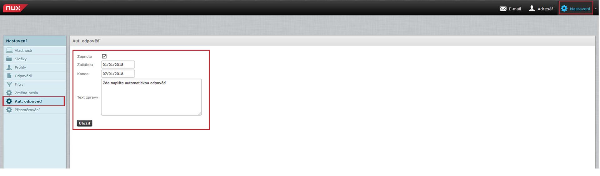 Nastavení automatické odpovědi v emailu